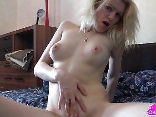 Fingering her mature tight sweet pussy