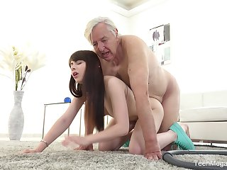 Old man sticks his penis up the young niece's hungry cunt